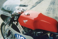 CB77 Honda fitted with Yamaha race tank and Honda GP seatbase